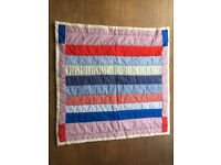 Handmade blue and red quilt