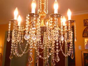 super lustre chndlier 8x antique/1950 Louis XVI bronze cristal