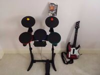 Nintendo Wii Drum set and Guitar Plus Game guitar hero (Warriors of Rock) EXCELLENT CONDITION