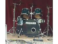 Premier drum kit includes all hardware and cymbals