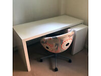 White Ikea Malm Desk with Pull-out panel