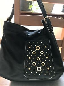 Black leather hobo handbag