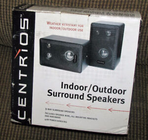New Pair of Small Indoor / Outdoor Surround Wired Speakers  Loca