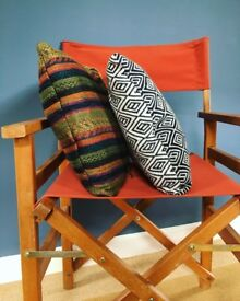 Handmade cushion covers made from unwanted scarves