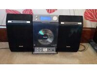 Philips Stereo, CD Player, USB, Digital Radio, Black Removable Speakers