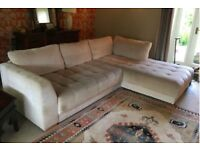 Quality L-Shaped cream/ oatmeal sofa.