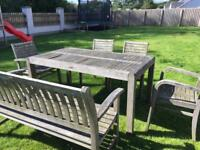 Garden table with bench and 4 chairs