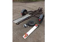 Motorbike Trailer With Spare Wheel & Plate Board Solid Chassis Great Condition Rrp £450