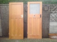 "7 x1930's internal 4 panelled doors 2 with glass and 5 boarded 30""wide x77.1/2 high £25 each"