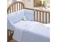 3 PIECE NURSERY BABY BOY QUILT DUVET COT BED SET - BLUE