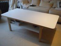IKEA LARGE WHITE & BEECH VENEER COFFEE TABLE WITH SHELVES