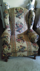 Matching Floral Loveseat and Wing Chair