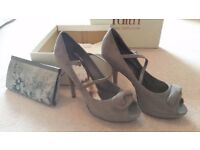 Size 7 Wedding or party shoe with matching clutch