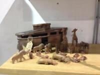 Hand carved wooden Noah's ark