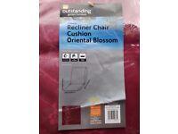 Red recliner chair cushion x 2, For garden recliner chair