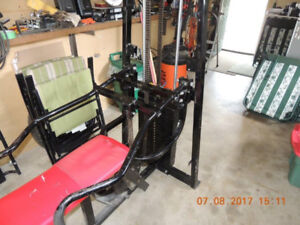 Plate loaded bench press with 250 pound weight stack