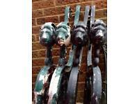 Lion head garden bench ends (matching pair)