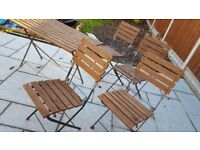 Wooden/metal garden table and chairs
