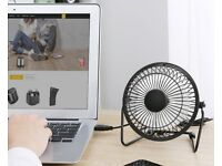 USB Fan Small for Laptop Tablet PC 4 inch metal blades Retro Three Rubber Feet 360 degree rotation