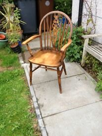 Farmhouse Elm and Beech Stick Back Elbow Chair