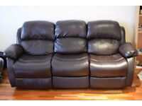 3 seater leather sofa - reclining back/ extending leg rest