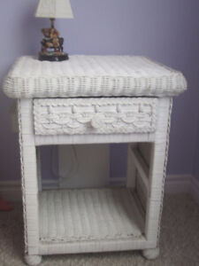 White Wicker Bed End Table