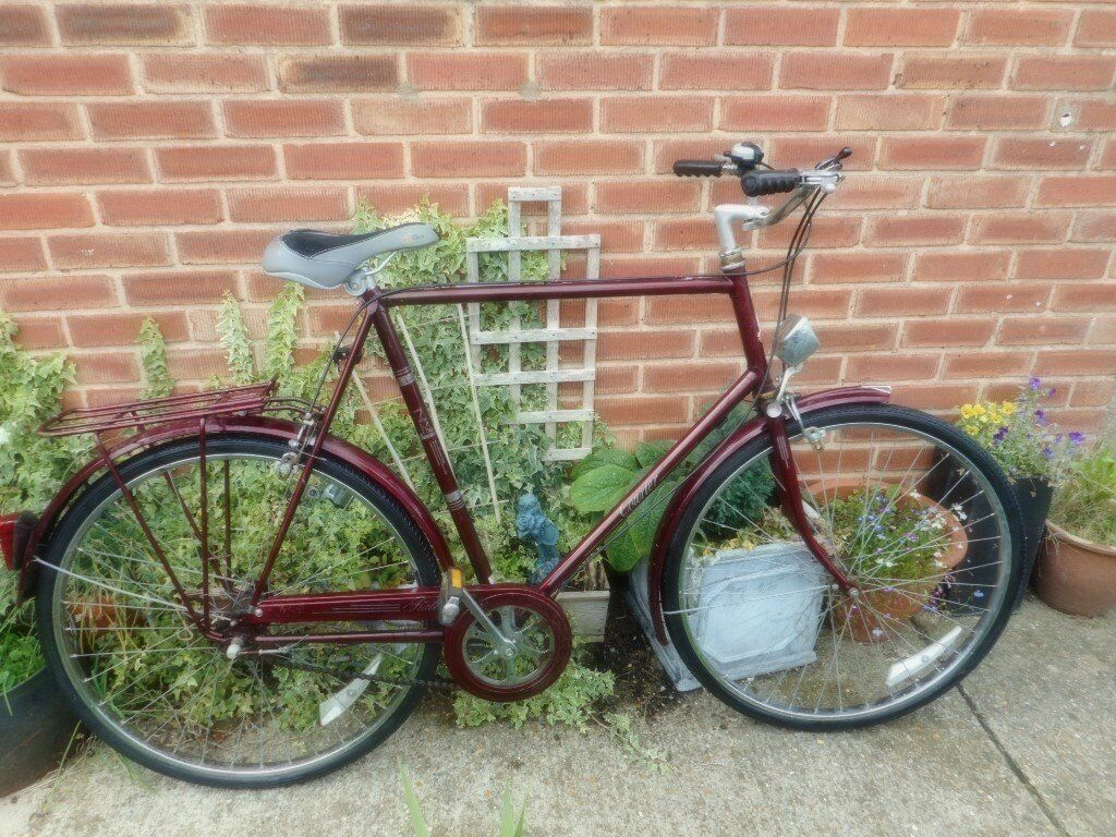 mans red vintage raleigh courrier 25 inch frame bike with lock | in ...