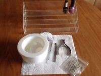 3 Pcs Professional Manicure/Pedicure Set , Manicure bowl & three levels nail polish display