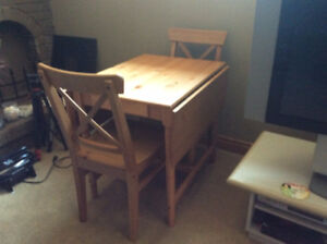 Ikea dining room table with two chairs