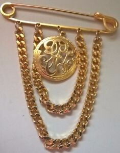 Safety Pin Pin Brooch Gold Tone Chain