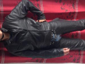 Manteau cuir femm moto