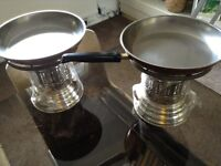Copper pans and silver plated burners