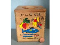vintage hand painted wooden flour bin