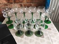 Set of wine and sherry glasses and wine stopper