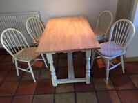 Vintage style kitchen table and 4 Windsor Chairs