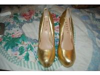 GOLD LADIES SHOES SIZE 41 UK. COLLECTION FROM WHITBY OR CAN POST.