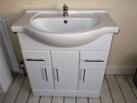 Bathroon Large (755mm) Sink and Cabinet with Tap & Tails, Pop-up Waste. Soft Close Cupboard Doors.