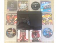SONY PLAYSTATION SUPERSLIM 320 GB PS3 CONSOLE 1 PADS 10 GAMES BUNDLE GTA 5 COD MW4 F1 NOT PS4 XBOX