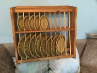 Kitchen Solid Pine Plate unit and Pine Plate Rack with six hooks for Cups/Mugs