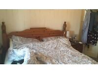 King size pine bed frame & drawers