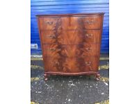 1950's Mahogany Serpentine Chest of Drawers by Beithcraft - Antique Vintage Retro