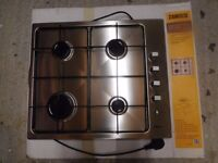 New, unused Zanussi stainless steel gas hob