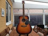 Like new acoustic 6. String guitar sunburst full size made by Hudson bargain £££