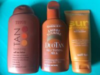 3 x unopened bottles of self tan + other beauty products