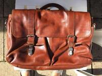 Brown leather satchel bag