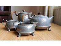 My Lady Hammered Pewter 4 piece tea set