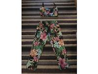 Floral pants and top suit.