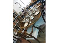 English Reproduction Dining Table and 6 chairs