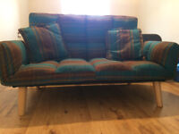 Sofa / Melrose two-seat check fabric sofa in blue and brown