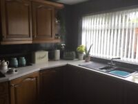 Kitchen units, double oven and hob